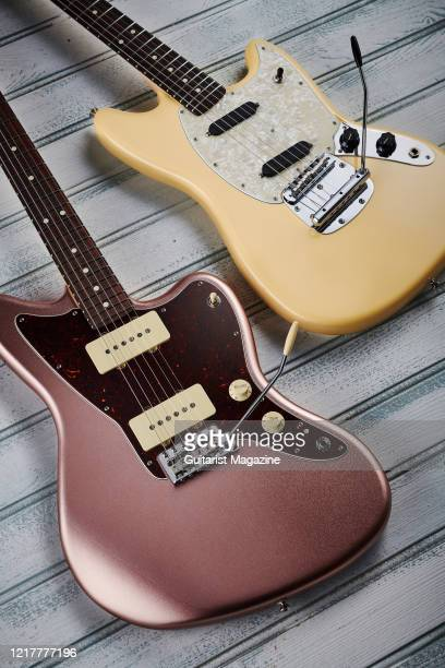 A Fender American Performer Jazzmaster with a Penny finish and a Fender American Performer Mustang with a Vintage White finish taken on July 12 2019