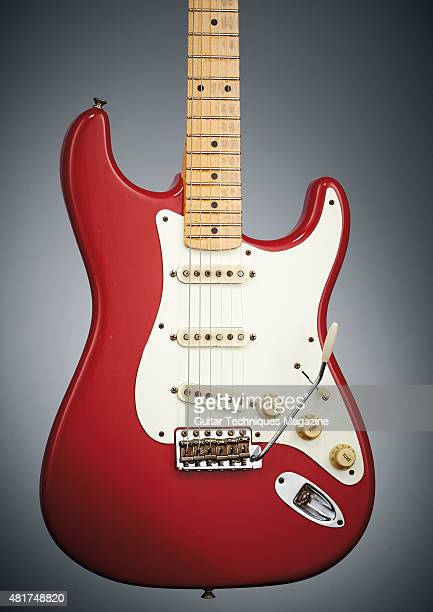 A Fender Classic Series '50s Stratocaster electric guitar with a Fiesta Red finish taken on August 6 2014