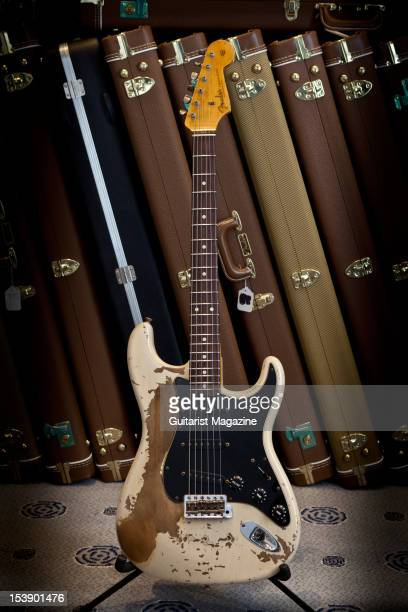 Fender Custom Shop Greg Fessier Masterbuilt Heavy Relic 61 Stratocaster electric guitar on display at Longleat House October 14 2010