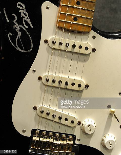 Fender Eric Clapton 'Blackie' recreation on display during a press preview March 4 2011 at Bonhams New York for the auction to sell some of Eric...