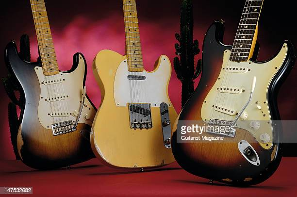 Fender Road Worn 50s Stratocaster 50s Telecaster and 60s Stratocaster electric guitars during a studio shoot for Guitarist Magazine December 11 2008