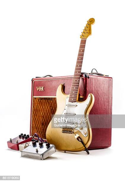 A Fender Stratocaster electric guitar vintage Vox amplifier and a group of effects pedals taken on September 20 2016