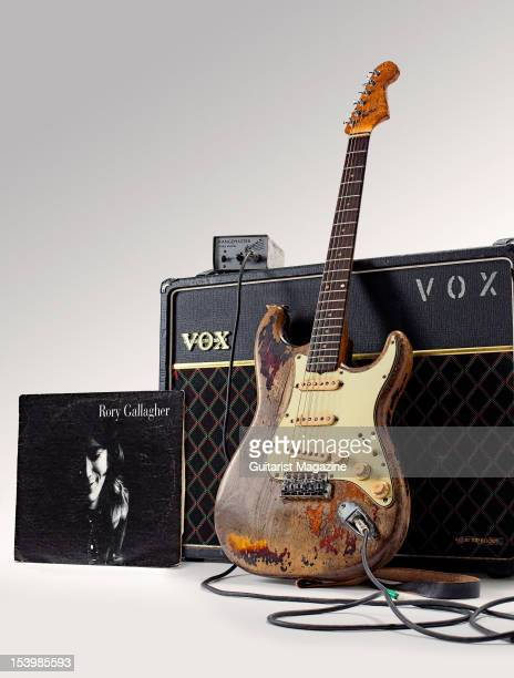 Fender Stratocaster electric guitar Vox AC30 amplifier and Rangemaster treble booster owned by the late Irish musician Rory Gallagher Photographed...