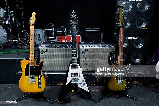 Fender Telecaster Royal V and Burns Apache Double Six electric guitars used by English guitarist and Songwriter Andy Powell Photographed during a...