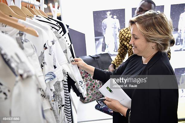 Fendi designer Silvia Venturini Fendi visits the Designer Showcase during the Vogue Fashion Dubai Experience 2015 at The Dubai Mall on October 30,...