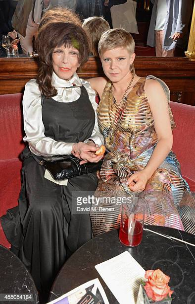 Fenella Fielding and singer Robyn attend 'The Gentlewoman' issue launch party at the Oscar Wilde Bar at The Club at Cafe Royal on September 9 2014 in...