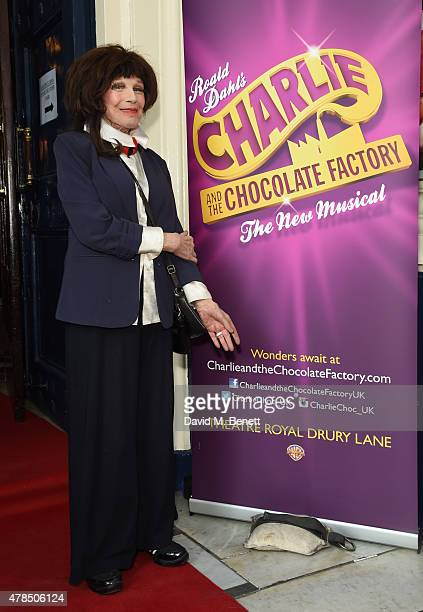 Fenella Fielding attends the Charlie and the Chocolate Factory second birthday in the West End at Theatre Royal on June 25 2015 in London England