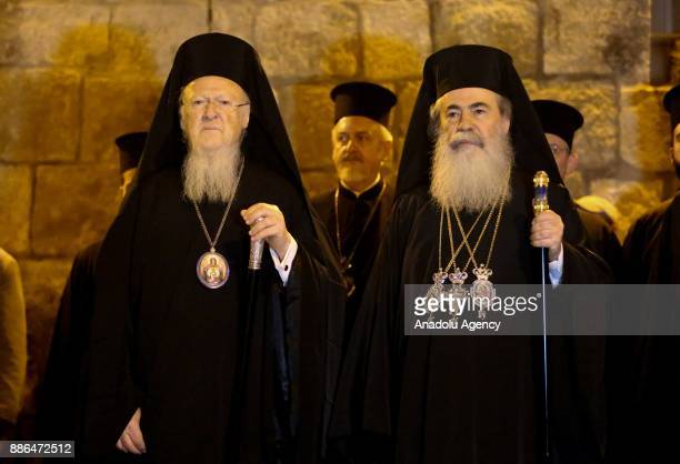 Fener Greek Patriarch Bartholomeos is seen with Greek Orthodox Patriarch of Jerusalem Theophilos III during Bartholomeos' visit to Jaffa Gate in...