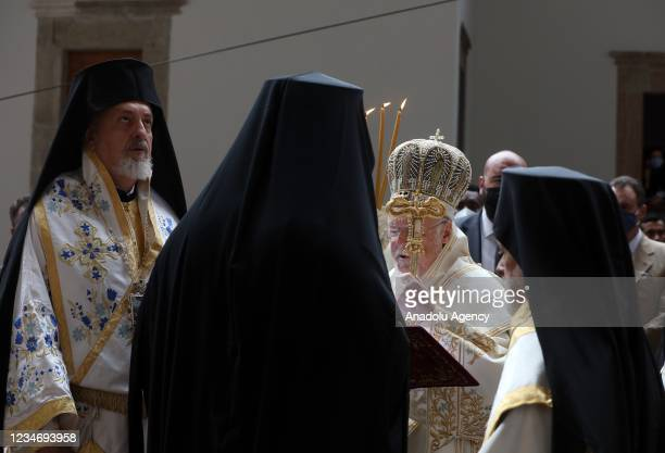 Fener Greek Patriarch Bartholomew leads the mass held for the Assumption of Mary for the eighth time since resuming religious services after a pause...