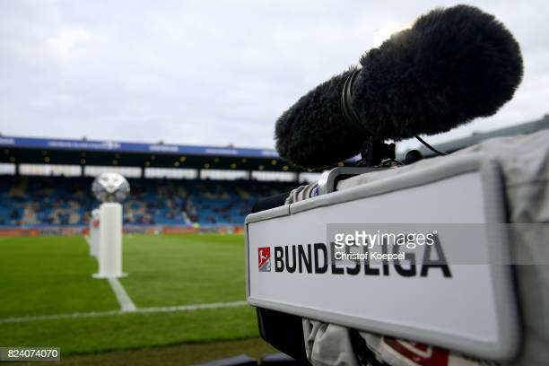 A feneral view to the cameras with a logo of the Bundesliga are seen during the Second Bundesliga match between VfL Bochum 1848 and FC St Pauli at...