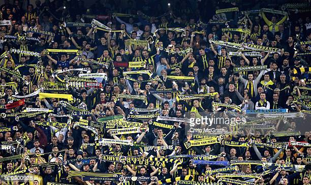 Fenerbache fans show their support during the UEFA Europa League Group A match between Fenerbahce SK and Manchester United FC at Sukru Saracoglu...