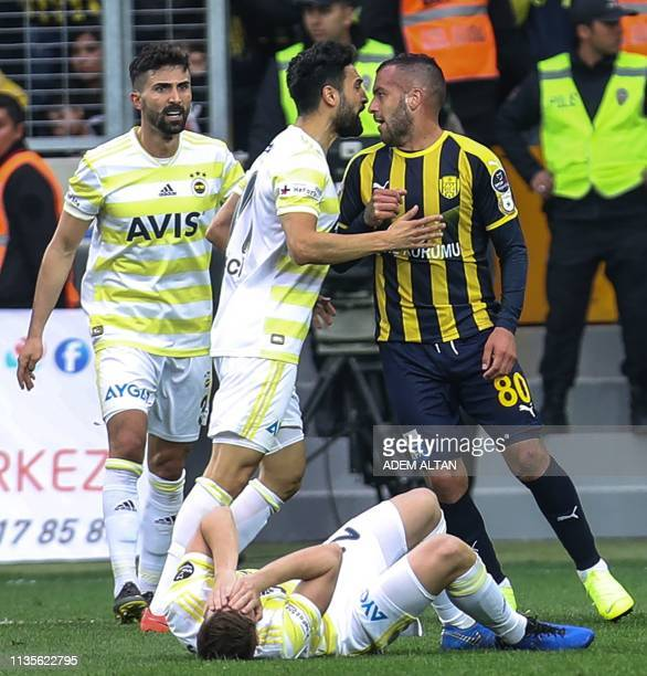 Fenerbahce and Ankaragucu's players quarrel during the Turkish Super Lig football match between Ankaragucu and Fenerbahce at Eryaman Stadium in...