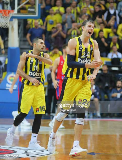 Fenerbahce BEKO players celebrate after the 2018/2019 Turkish Airlines EuroLeague Regular Season Round 13 game between Fenerbahce BEKO Istanbul and...