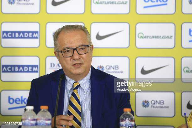 Fenerbahce Beko Team's general manager Maurizio Gherardini speaks during Fenerbahce Beko Men Basketball Team's Media Day event at Ulker Sport and...
