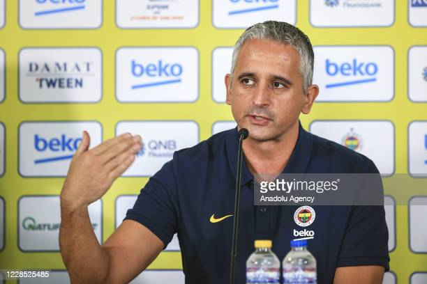 Fenerbahce Beko Team's head coach Igor Kokoskov speaks during Fenerbahce Beko Men Basketball Team's Media Day event at Ulker Sport and Event Hall...