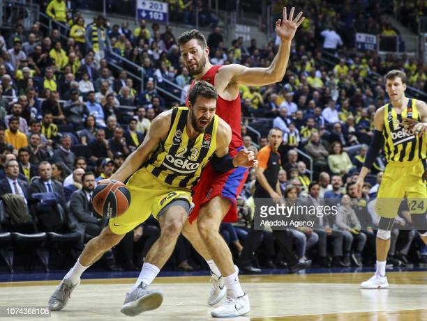 Fenerbahce Beko's Marco Guduric in action against Alec Peters of CSKA Moscow during the Turkish Airlines Euroleague week 13 basketball match between...