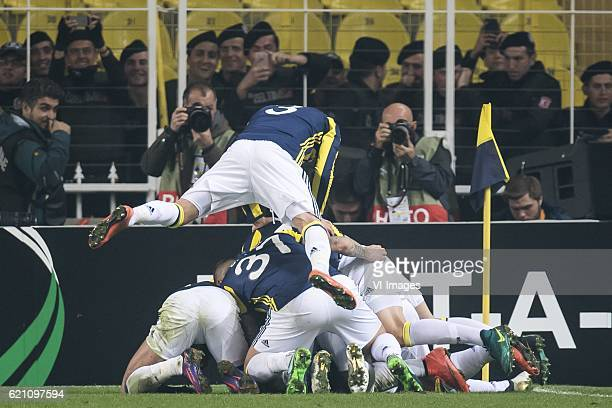 Fenerbahce celebrate the goal of Jeremain Lens of Fenerbahceuring the UEFA Europa Leaguegroup A match between Fenerbahce and Manchester United on...