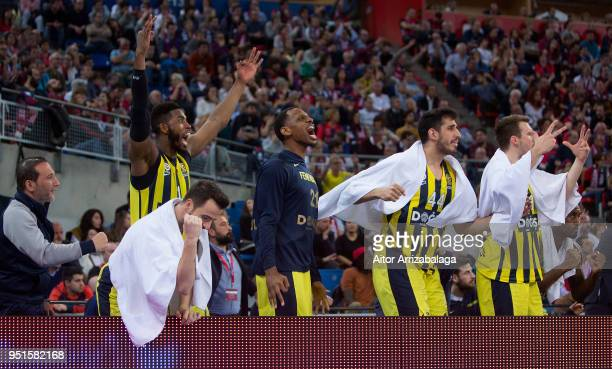 Fenerbahce Dogus Istanbul bench celebrates during the Turkish Airlines Euroleague Play Offs Game 4 between Kirolbet Baskonia Vitoria Gasteiz v...