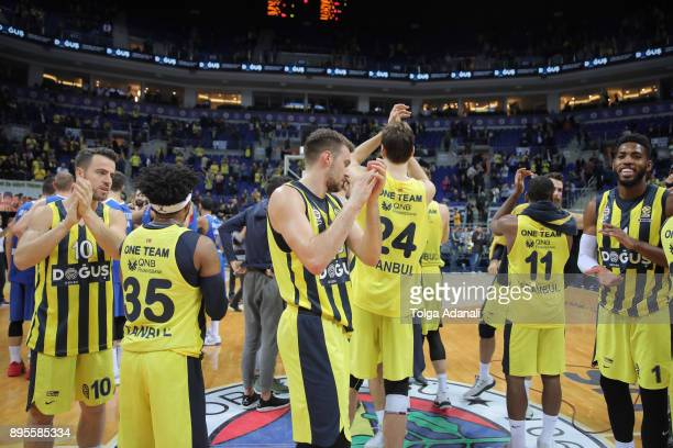 Fenerbahce Dogus players celebrate victory after the 2017/2018 Turkish Airlines EuroLeague Regular Season Round 13 game between Fenerbahce Dogus...