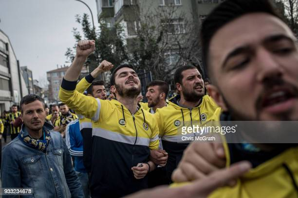 Fenerbahce fans arrive at the stadium ahead of the Istanbul Derby match between Fenerbahce and Galatasaray in a bar on March 17 2018 in Istanbul...