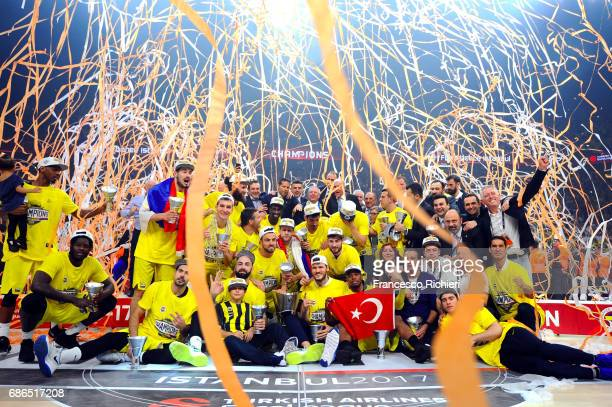 Fenerbahce Istanbul players new champion of 2017 celebrates during Final Four Istanbul Turkish Airlines EuroLeague Champion Trophy Ceremony at Sinan...