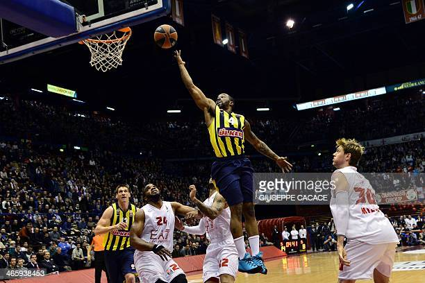Fenerbahce Istanbul's guard Bo McCalebb jumps for the ball during the group E Euroleague basketball match between Emporio Armani Milan and Fenerbahce...
