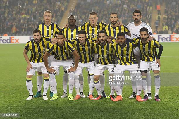 Fenerbahce players line up ahead of the UEFA Europa League Group A match between Fenerbahce SK and Manchester United FC at Sukru Saracoglu Stadium on...