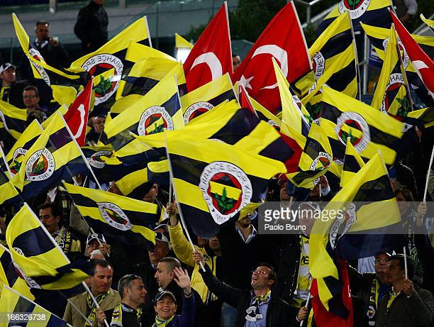 Fenerbahce SK fans support their team during the UEFA Europa League quarter final match second leg between SS Lazio and Fenerbahce SK at Stadio...