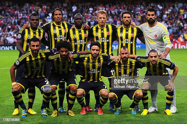 Fenerbahce SK line up for a team photo before the UEFA Champions League Play Off Second leg match between Arsenal FC and Fenerbahce SK at Emirates...