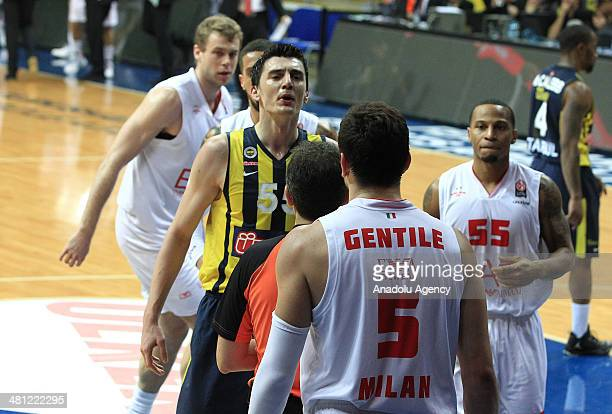 Fenerbahce Ulker's Emir Preldzic argues with EA7 Emporio Armani's Alessandro Gentile during the Turkish Airlines Euroleague Top 16 Round 12...