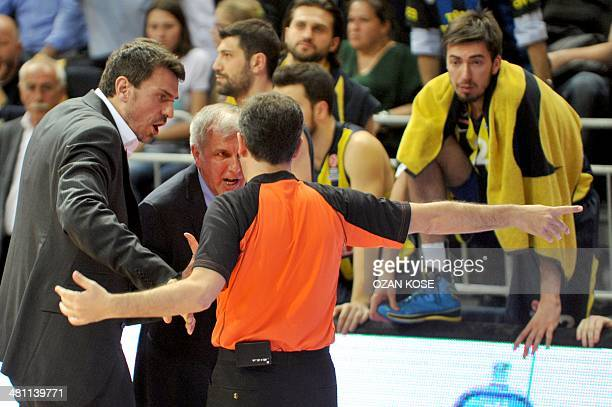 Fenerbahce Ulker's head coach Zelimir Obradovic argues with the referee during the Top 16 Euroleague basketball match between Fenerbahce Ulker and...