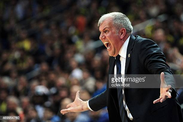Fenerbahce Ulker's Serbian head coach Zelimir Obradovic reacts during the Euroleague playoffs round 2 basketball match between Fenerbahce Ulker and...