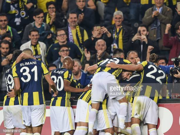 Fenerbahce's Andre Ayew celebrates after scoring a goal during the UEFA Europa League Group D football match between Fenerbahce SK and RSC Anderlecht...