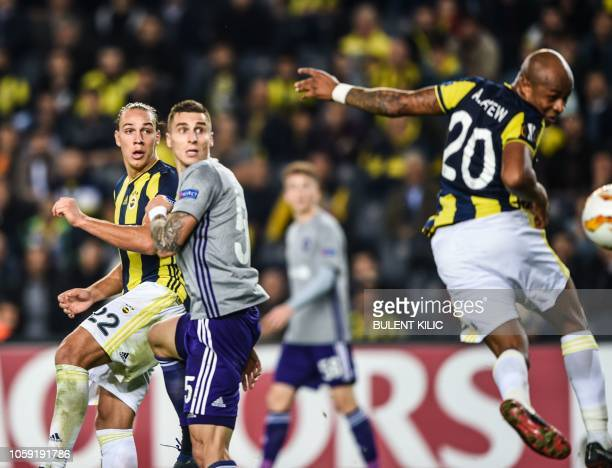 Fenerbahce's Andre Ayew kicks the goal during the UEFA Europa League Group D football match between Fenerbahce SK and RSC Anderlecht at Ulker Stadium...
