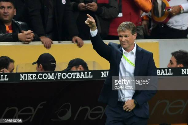Fenerbahce's asistant coach Erwin Koeman gestures during the Turkish Spor Toto Super league fotball match between Galatasaray and Fenerbahce on...