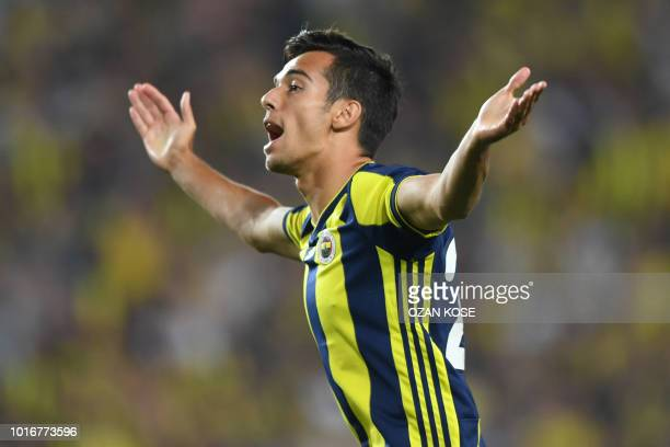 Fenerbahce's Baris Alici reacts during UEFA Champions league third round second leg qualifying football match between Fenerbahce SK and SL Benfica on...