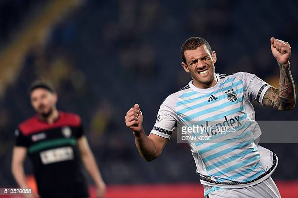 Fenerbahce's Brazilian forward Fernandao reacts during the Zirrat Tukish Cup football match between Fenerbahce and Amedspor at Fenerbahce Ulker Sukru...