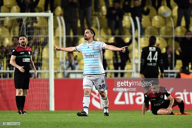 Fenerbahce`s defender Mehmet Topal celebrates after scoring a goal during the Zirrat Turkish Cup football match between Fenerbahce and Amedspor at...