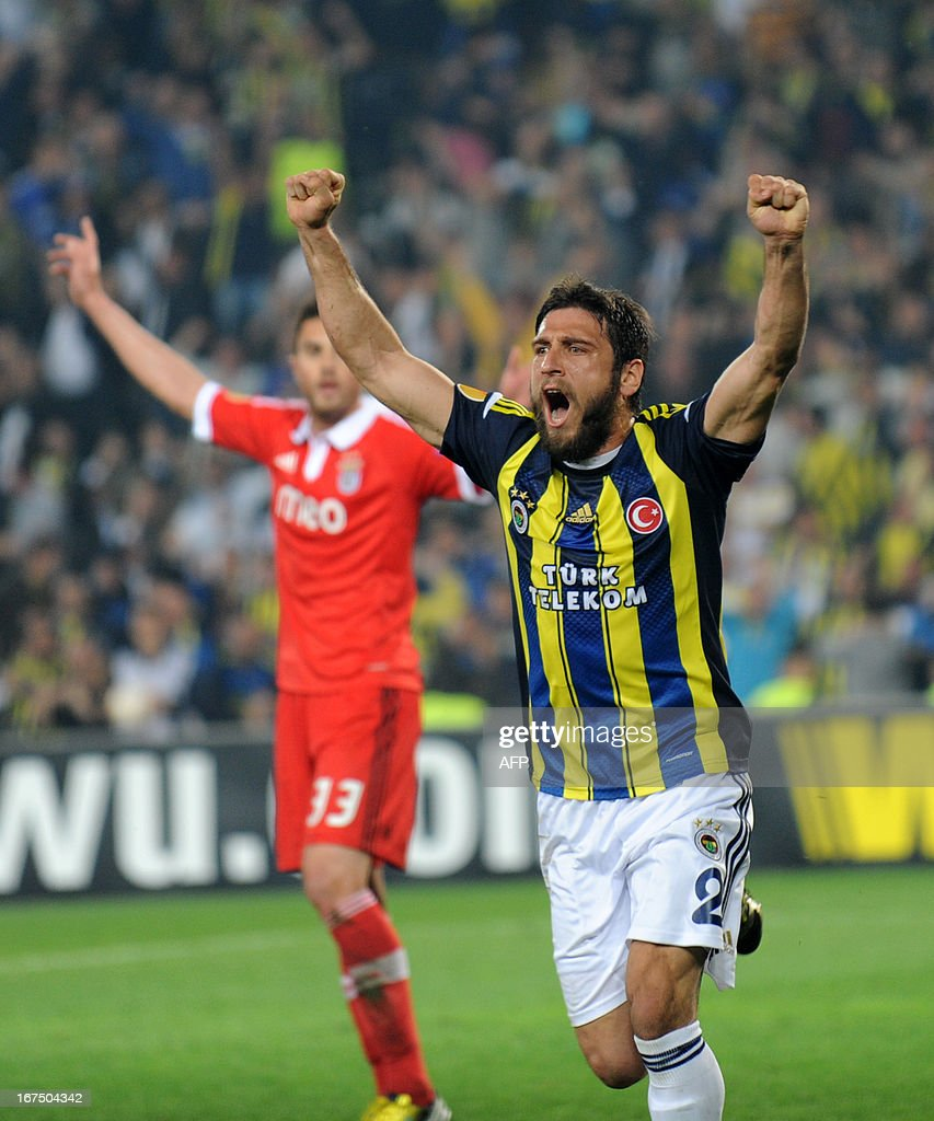 Fenerbahce's Egemen Korkmaz celebrates after scoring during an UEFA Europa League semi-final football match between Fenerbahce and Benfica at Sukru Saracoglu stadium on April 25, 2013 in Istanbul.