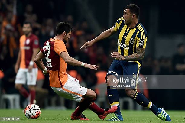 Fenerbahce`s Fernandao vies for the ball with Galatasaray`s Hakan Balta during the Turkish Spor Toto Super league football match between Galatasaray...