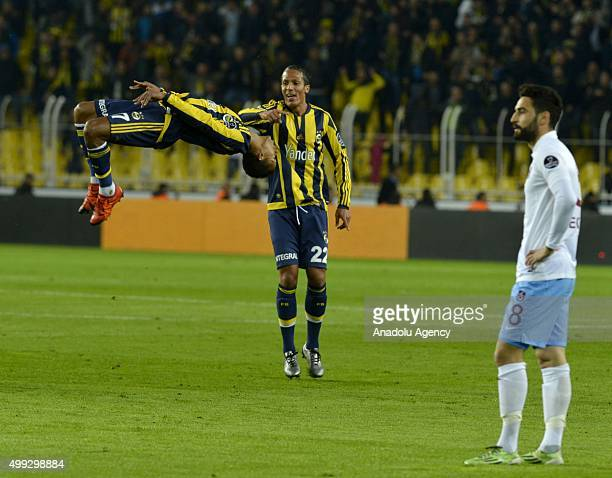 Fenerbahce's forward Nani celebrates after scoring a goal during the Turkish Spor Toto Super League football match between Fenerbahce and Trabzonspor...