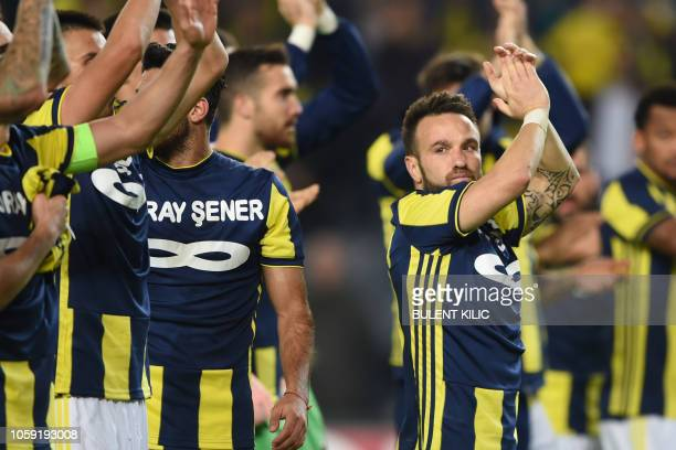 Fenerbahce's French midfielder Mathieu Valbuena celebrates after winning the UEFA Europa League Group D football match between Fenerbahce SK and RSC...
