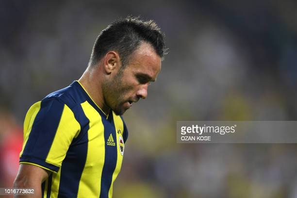 Fenerbahce's French midfielder Mathieu Valbuena reacts during UEFA Champions league third round second leg qualifying football match between...