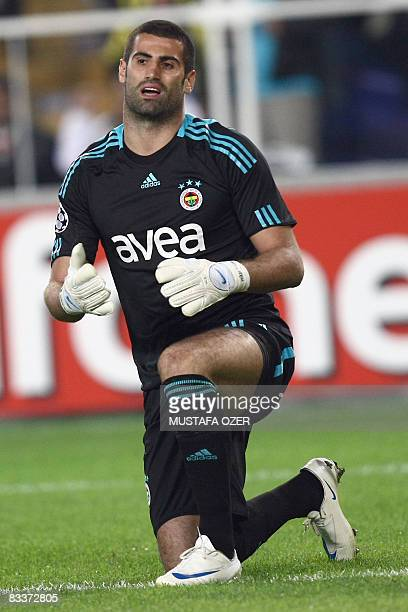 Fenerbahce's goalkeeper Volkan Demirel reacts after Arsenal's second goal during their UEFA Champions league group G match at Sukru Saracoglu stadium...