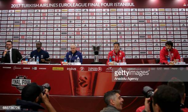 Fenerbahce's Head coach Zeljko Obradovic with Ekpe Udoh and Coach Ioannis Sfairopoulos of Olympiacos with Georgios Printezis hold a media conference...