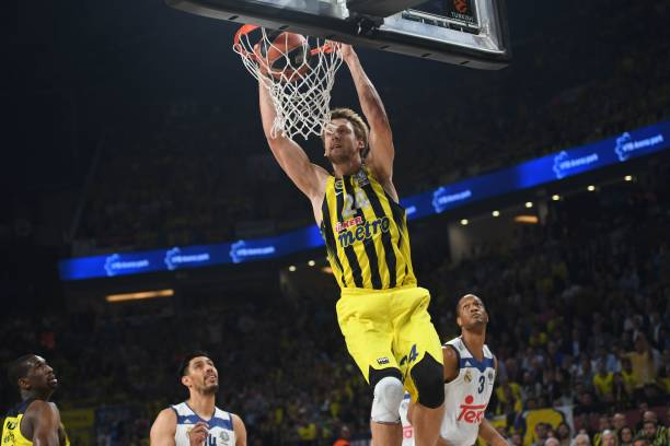Fenerbahces Jan Vesely Scores During The Semi Final Basketball