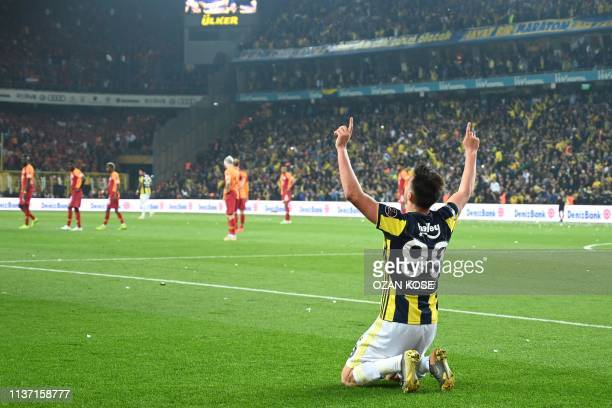 Fenerbahce's Macedonian midfielder Eljif Elmas celebrates after scoring a goal during the Turkish Super league football match between Fenerbahce and...