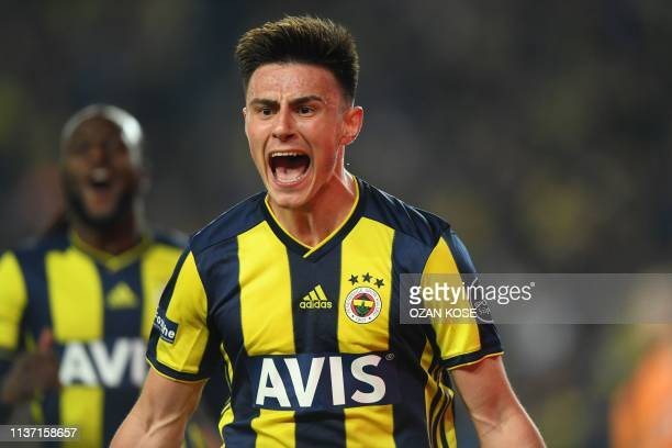 Fenerbahce's Macedonian midfielder Eljif Elmas celebrates with his team mates after scoring a goal during the Turkish Super league football match...