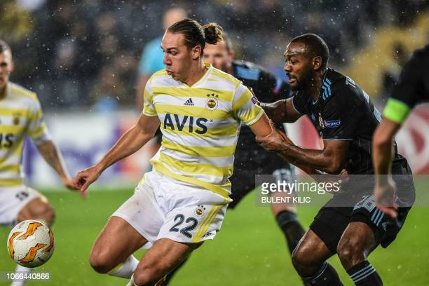 Fenerbahce's Michael Frey fights for the ball with Dinamo Zagreb's Kevin TheophileCatherine during the UEFA Europa League Group D soccer match...