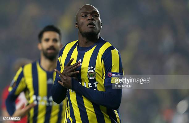 Fenerbahce's Moussa Sow celebrates after scoring a goal during the UEFA Europa League football Fenerbahce SK vs Manchester United at the Fenerbahce...